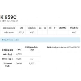 K 959C Filtro de cabina