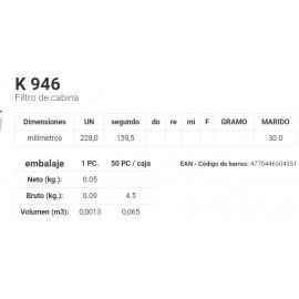 K 946 Filtro de cabina